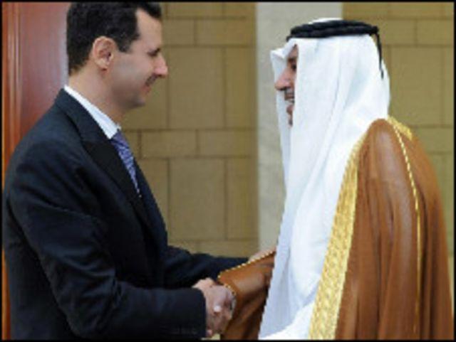 بشار الاسد ورئيس وزراء قطر
