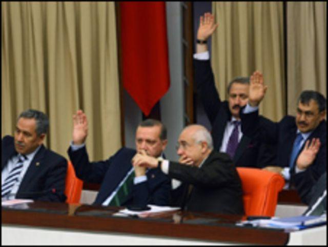 إردوغان (وسط) وأفراد من حكومته يصوتون في إحدى الجلسات على التعديلات