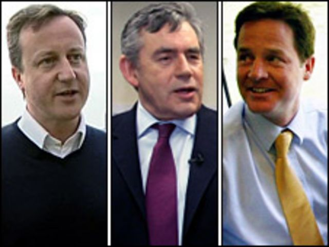قادة الأحزاب الرئيسية الثلاثة في بريطانيا