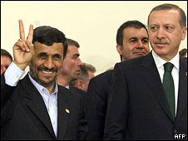 رجب طيب اردوجان والرئيس الإيران محمود أحمدي نجاد