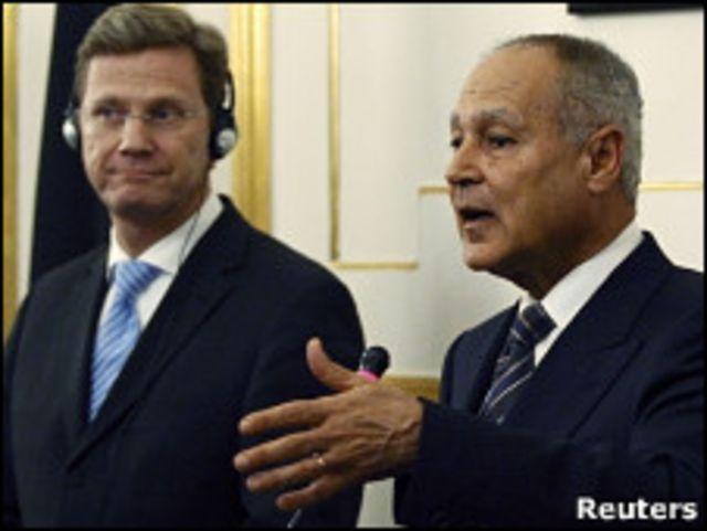 وزير الخارجية المصري، أحمد أبو الغيط رفقة وزير الخارجية الألماني، جيدو ويسترفيلي