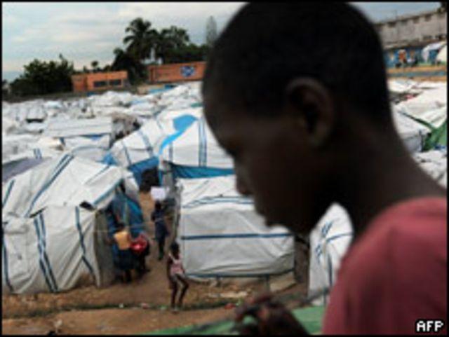 Campo de refugiados en Haití
