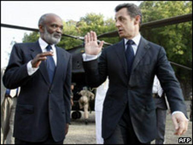 Nicolas Sarkozy y Réné Préval.
