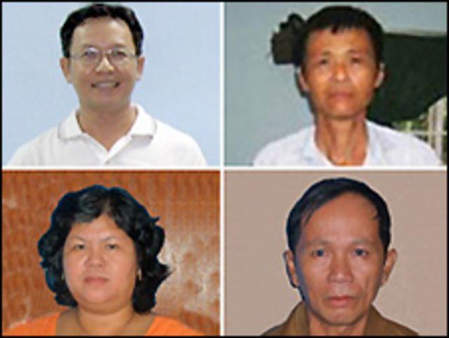 Từ trái, hàng trên: Ông Phạm Minh Hoàng, Mục sư Dương Kim Khải, bà Trần Thị Thúy, ông Nguyễn Thành Tâm