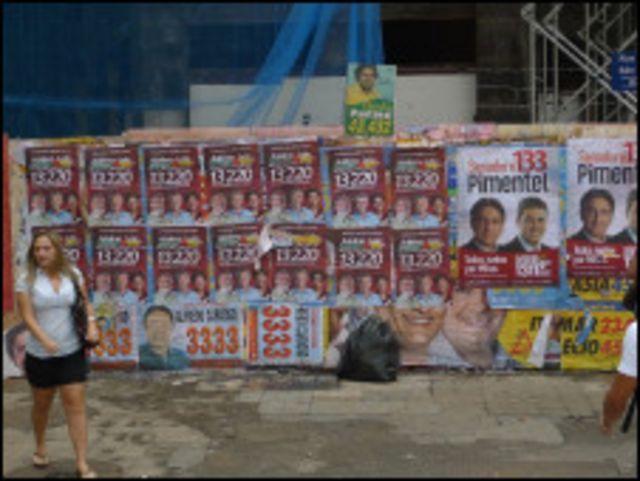 Propaganda política em BH (Foto: João Fellet/BBC Brasil)