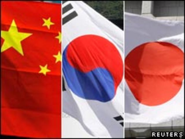 中日韓國旗