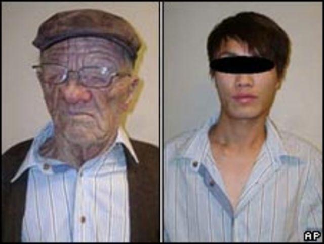 易容偷渡青年在偽裝前後的樣貌(加拿大邊境服務局提供圖片)