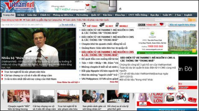Trang VietnamNet khi bị tấn công lần trước