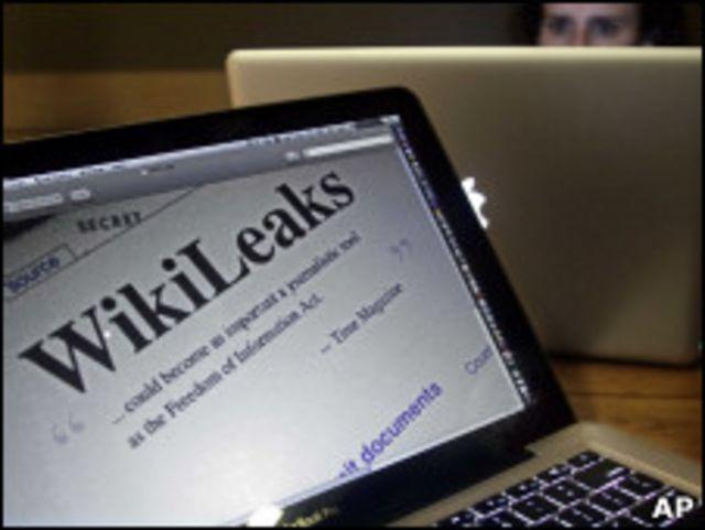 Экран компьютера с надписью Wikileaks
