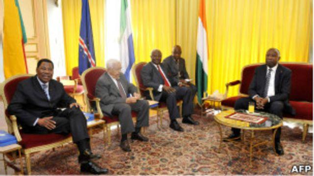 Abakuru b'ibihugu bya Sierra Leone, Benin na Cape Vert bari kumwe na Perezida Laurent Gbagbo