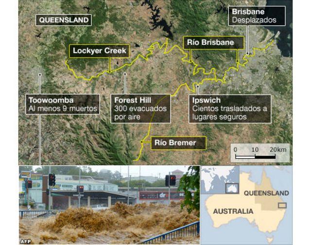 Mapa de las inundaciones en Australia