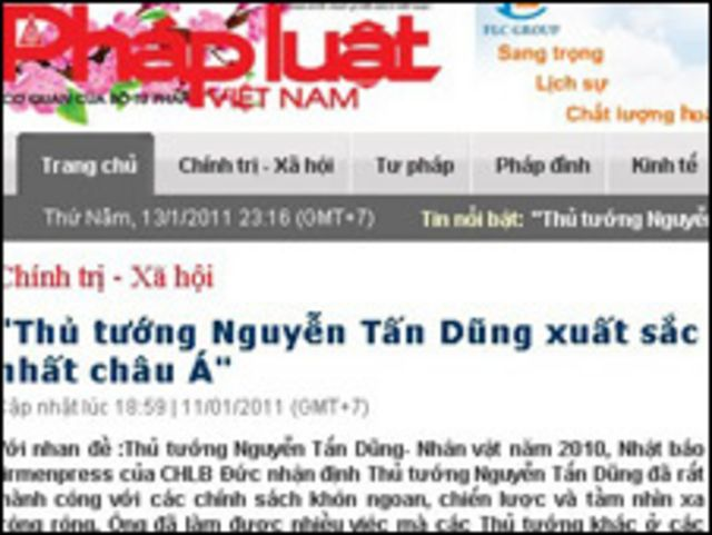 Bài báo trên Pháp luật Việt Nam