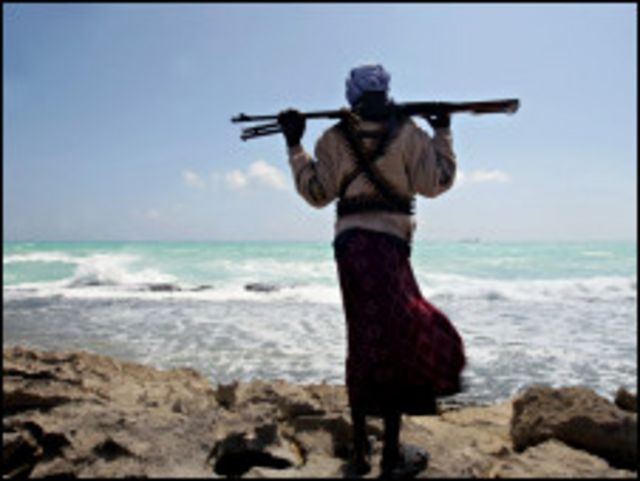 A Somali pirate on the lookout