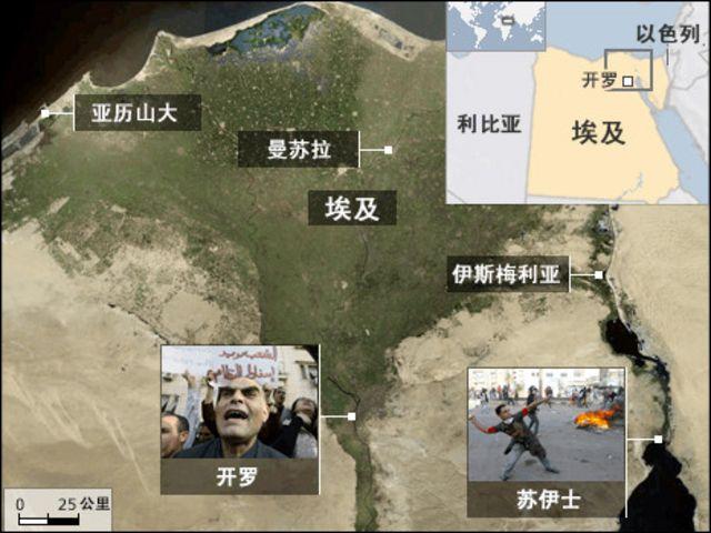 埃及和鄰國地圖
