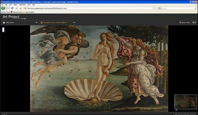 """""""El nacimiento de Venus"""" en la web Art Project de Google"""