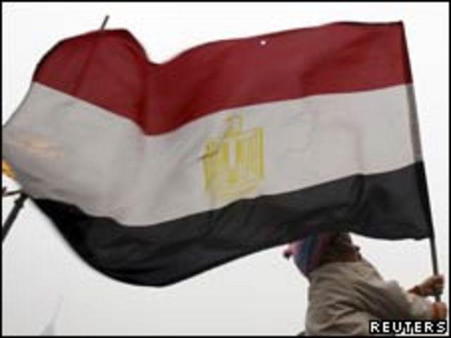 開羅解放廣場上手舉埃及國旗的示威者(05/02/2011)
