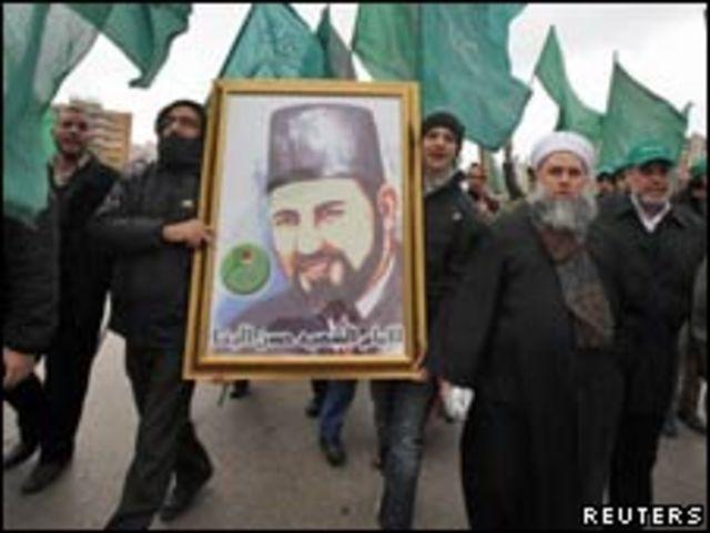 穆斯林兄弟會成員在貝魯特埃及大使館門前示威(04/02/2011)