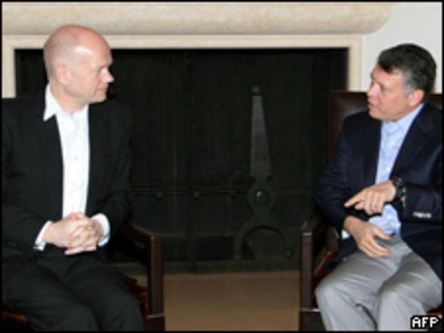 英國外相黑格與約旦國王阿卜杜拉會晤(08/02/2011)