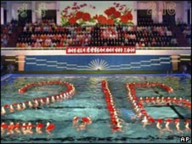 朝鮮花樣游泳圖案標誌金正日生日