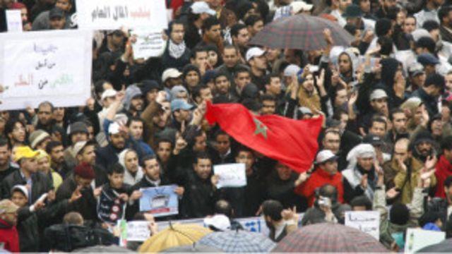 Des manifestants marocains