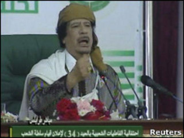 卡扎菲在的黎波里發表講話