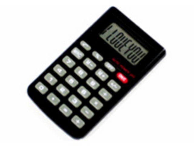 """Calculadora con frase """"I love you"""" (te amo)"""