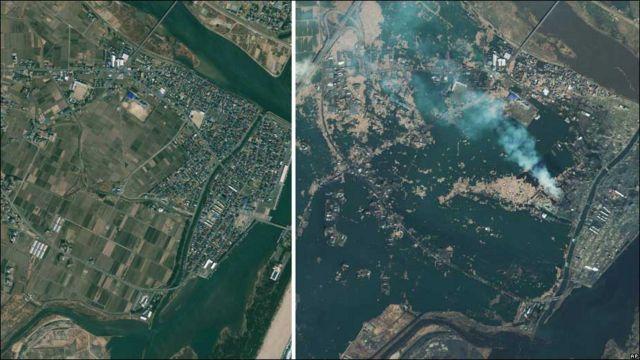 Вигляд із супутника. Півострів Ошіка до і після землетрусу