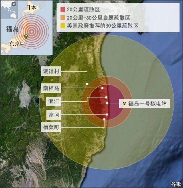 日本福島核電站核輻射疏散區示意圖