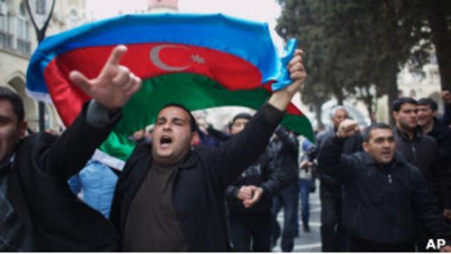 Участники акции протеста в Баку