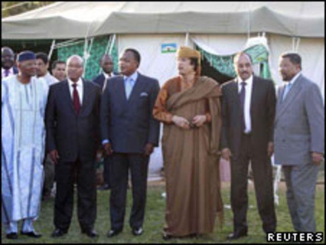 卡扎菲和非盟領導人