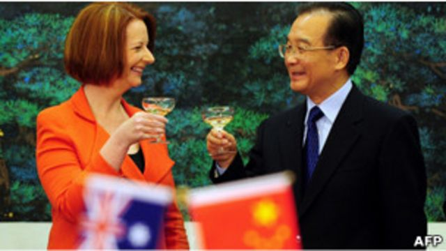 澳大利亞總理吉拉德和中國總理溫家寶