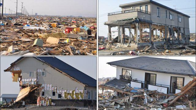 Trên đường vào Watari-cho... Đường sóng thần đi qua, tầng trệt chỉ còn là khung sắt hoặc bị phá sập cả một tầng hay mất hết một bên...