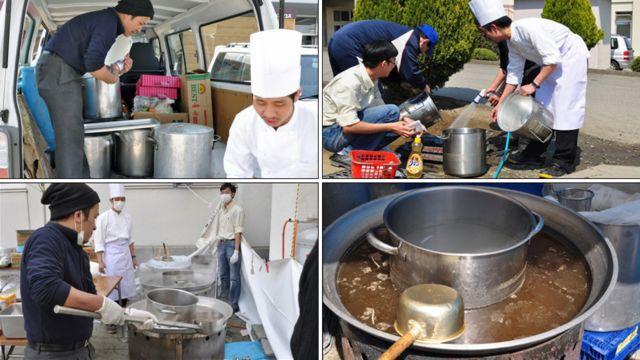 """Nhưng hôm nay đặc biệt sẽ có những tô phở nóng Việt Nam đem lại """"Một Chút Ấm Lòng"""". Thiếu bếp trụng bánh phở nên phải đặt nồi trụng bên trong nồi nước lèo như thế này. Chỉ có hai bếp, một cho phở bò và một cho phở gà."""