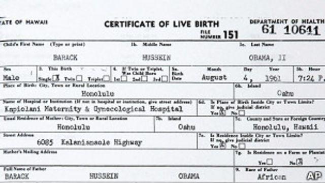 Obama'nın doğum sertifikası