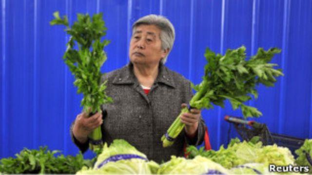 瀋陽一個菜市場內一名顧客挑揀芹菜(11/05/2011)