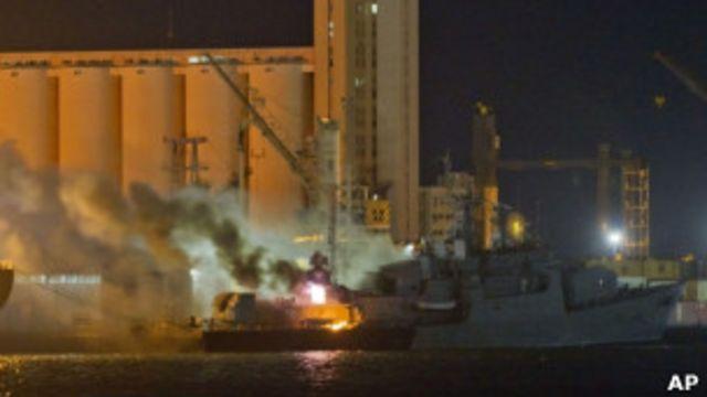 北約飛機空襲利比亞首都的黎波里軍港