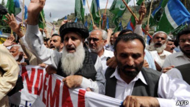 巴基斯坦阿伯塔巴德民眾舉行反美示威(6/5/2011)