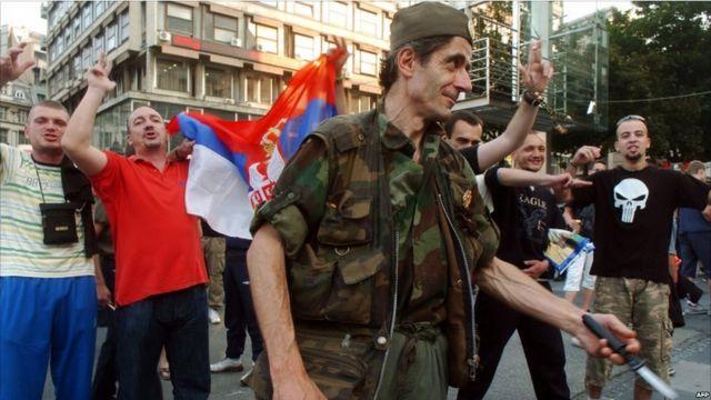 Demonstrasi kecil di Beograd