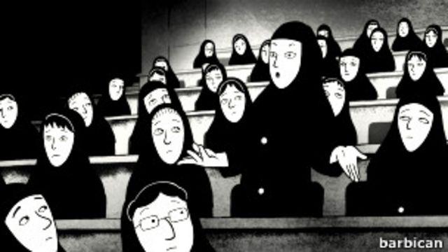 فیلم پرسپولیس داستان دختری را روایت میکند که در جریان انقلاب ایران و سالهای جنگ با عراق به تشویق خانواده از کشور خارج شده و به اروپا مهاجرت میکند