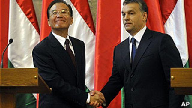 中國總理溫家寶與匈牙利總理歐爾班會晤(25/6/2011)