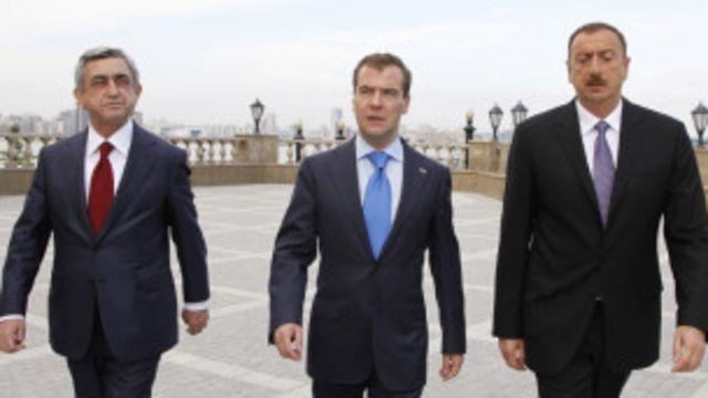 Президенты Азербайджана, Армении и России перед переговорами в Казани