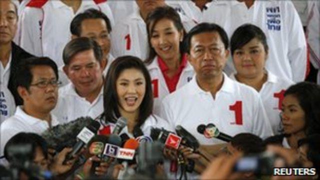 以前總理他信的妹妹英祿為首的為泰黨競選