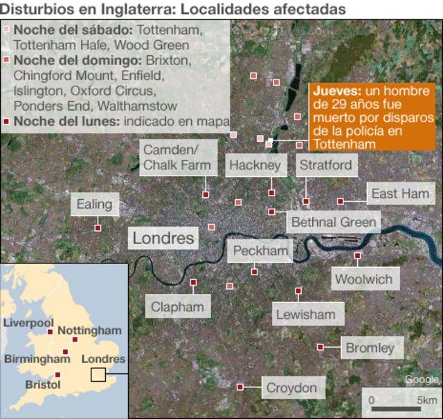 Mapa de los disturbios en el Reino Unido