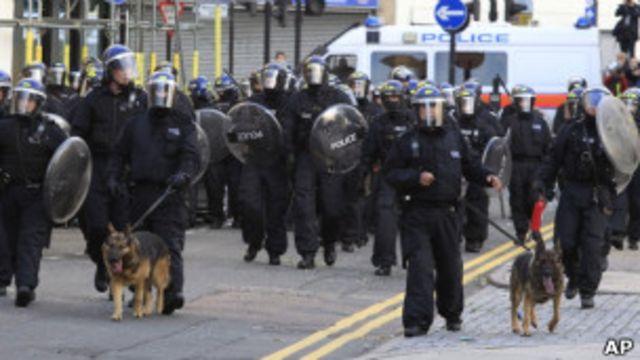 Полицейские с собаками в районе Хакни