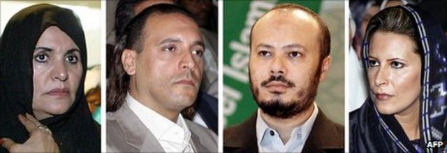 卡扎菲的妻子索菲亞,兒子漢尼拔,默罕默德和女兒艾沙。