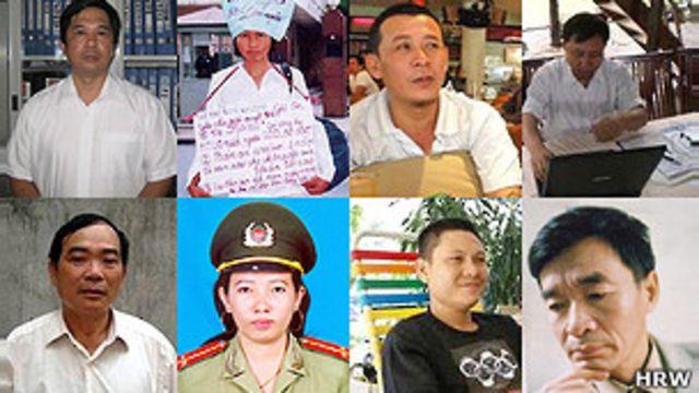Ông Vi Đức Hồi (đầu tiên, hàng dưới, từ trái) cũng được ra tù ngày 12/4/2013.