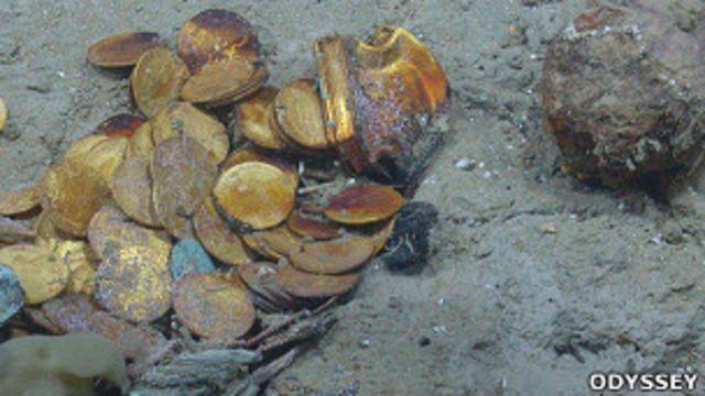 Monedas encontradas por Odissey Marine Exploration en el Proyecto Cisne Negro