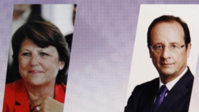 法國電視播放的社會黨總統候選人歐布雷(左)和奧朗德(右)的競選照