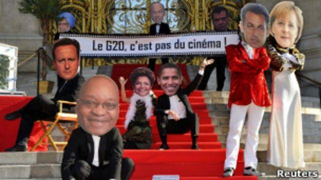 Manifestantes contra o G20, em Cannes. Reuters