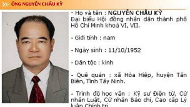 Hình và thông tin về ông Nguyễn Châu Kỳ trên trang web của Đại biểu nhân dân thành phố Hồ Chí Minh
